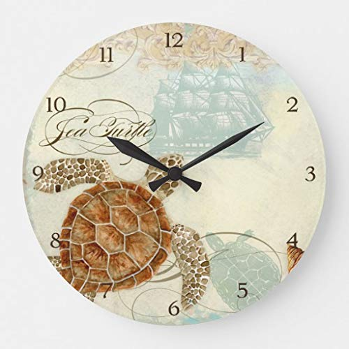 Beach Sand Seashore Collage Turtle Sea Horse Shell Wood Clock Battery Operated Clock Wall Art Decorations 12 Inches ()