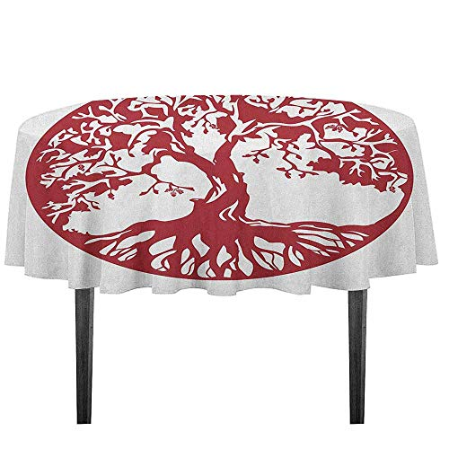 Tree Waterproof Anti-Wrinkle no Pollution Traditional Oak Silhouette Mythological Foliage Symbolizing Growth and Prosperity Outdoor Picnic D55.11 Inch Ruby and White