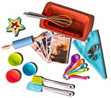 Chef Kingdom Kids real baking set 39-Piece with recipes/Loaf BakeWare/Cupcake/Muffin/Accessories/decorating kit Family Fun DIY Desserts, Star-Shaped Cookie Cutters, Gift Giving Box, FDA Food Grade