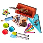 Riki's kingdom kids baking set 13 COMPLETE 38-PIECE BAKING SET! includes everything needed to bake with your children- Comes with 12 silicon baking cups, 1 spatula, 1 pastry brush, 5 measuring spoon, 1 rolling pin, 1 whisk, 5 star shape cookie cutters, piping bag , 6 piping nozzles , coupler and 5 recipe cards FAMILY-FRIENDLY FUN! Complete set ,It's not complicated- every convenience you can ask for and more! Microwave safe, flexible, comfortable for little hands, rust-free, no need to grease pan, withstands heat of melted sugar; sauces and creams don't stick, and the items are reusable to makes your kitchen a little greener STORE SMALL - BAKE BIG - plastic cookie cutters can be nested to save space, the piping bag and apron can be folded up neatly, while silicone items are flexible enough that you can fold it up for easy storage in small areas and they jump right back into shape when unfolded