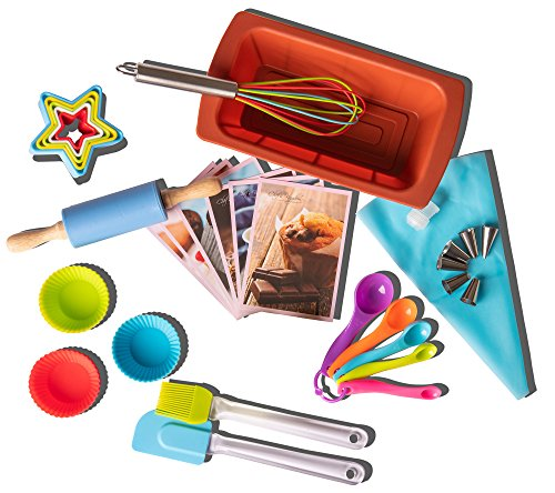 Riki's Kingdom Kids real baking set with recipes 39-Piece/Loaf pan/Cupcake/Muffin cups/Accessories/decorating kit Family…
