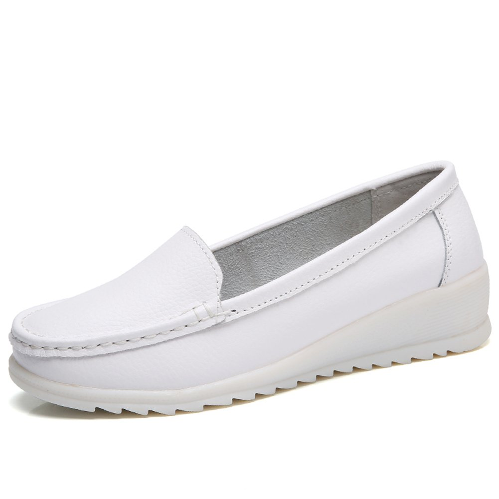 ZYEN Women Nurse Shoes All White Slip On Wedges Sneakers Comfortable Nursing Work Leather Loafers B07BFDHHWN 8.5 B(M) US = Heel to Toe 10 inch (25.5cm)|White
