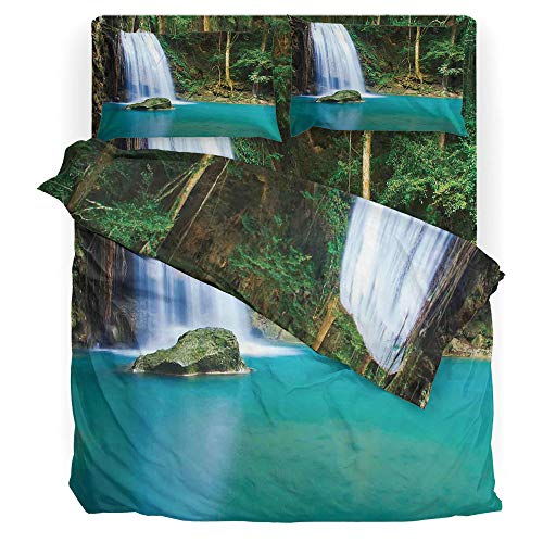 Waterfall Paris Juego de sábanas con foto de hombre kayak en canoa, agua silvestre, naturaleza extrema al aire última...