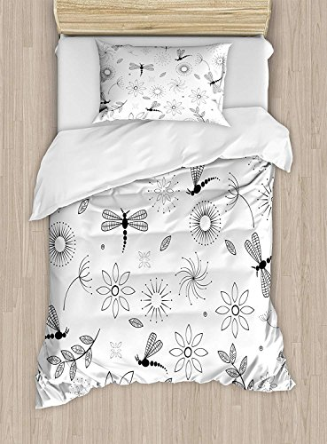 Twin XL Extra Long Bedding Set, Dragonfly Duvet Cover Set, Ethnic Bohem Inspired Flying Butterfly Like Bugs and Flowers Dandelion Image, Cosy House Collection 4 Piece Bedding Sets by Prime Leader (Image #1)