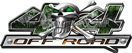 4x4 - Skull Series- Green-Set of Two (6 Inches- By- 14 Inches) Decals (Skully And Green Demon)