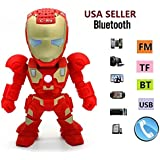New Iron Man Wireless Bluetooth Speaker C-89 Mini Portable Children Style LED Light Speakers Stereo Music Player Support FM TF For Smartphones Tablets PC All Blutooth Devices(RED)