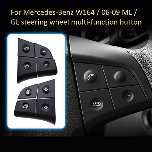 W164 GL ML 2006-2009 Negro Haudang Bot/óN de Volante de Audio Multifunci/óN de Coche para Mercedes