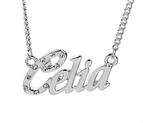e63dfa90625a3 Amazon.com: Zacria Name Necklace Celia - 18K White Gold Plated: Jewelry
