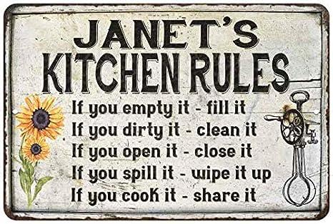 Amazon Com Janet S Kitchen Rules Chic Sign Vintage Decor 12