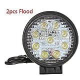 RioRand® 27W LED Flood Work Lamp Round Off Road Light High Power ATV Jeep 4x4 Tractor 60 Degree(2 pcs)