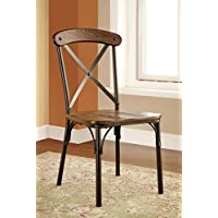 Furniture of America Rizal Industrial Style Round Dining Chair, Set of 2