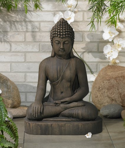 """Sitting Buddha 29 1/2"""" High Faux Sandstone Outdoor Statue"""