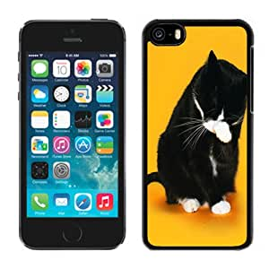 Beautiful Custom Designed Cover Case For iPhone 5C With Black Cat Washing Her Face Phone Case Cover