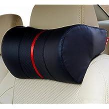 Tofern Memory Foam Car Cushion Superfiber Leather Adjustable Neck Support Pillow Travel Pillow Headrest Pillow Orthopedic Pillow - black2