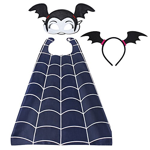 Cotrio Costume Hero Cape Cartoon Dress up Satin Capes and Felt Masks for Kids Head Band (3 (Bat Head)