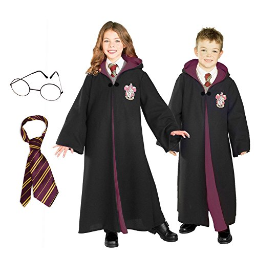Harry Potter Costume Bundle Set - Child Medium Costume, Tie, and Glasses -
