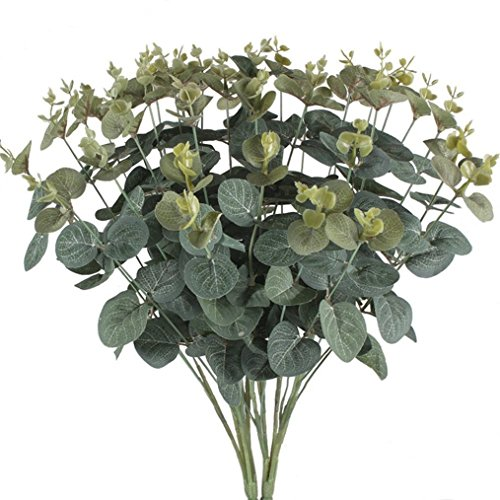 SogYupk 2 Bouquets Artificial Eucalyptus Leaves Silk Foliage Realistic Fake Plants Natural Shrubs for Outdoors Home Kitchen Table Hanging Basket Balcony Decorations (Silk Eucalyptus)