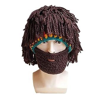 32d1442e65e57 Amazon.com  Mysika Creative Women and Men Beard Mask Wig Funny Knit Wool  Crazy Funny Winter Hats Caps Halloween Cosplay Caps  Beauty