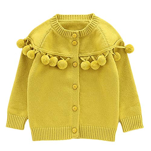 Moonnut Baby Girls Cardigan Sweaters with Pom Pom Cute Knit Sweater Autumn Winter Outwear (18-24months, - Sweater Autumn