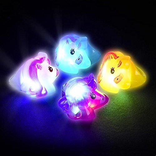 Light Up Unicorn Costume (4 Pack of Unicorn Light-Up Jelly Rings - 4 Colors of Flashing Unicorn Rings)