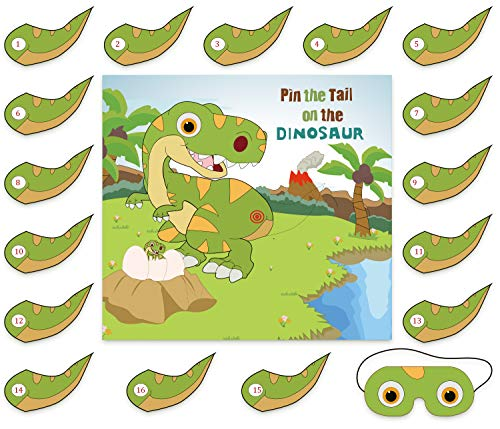 Pin The Tail On The Dinosaur Game - Dino Party Supplies Birthday Poster Decorations