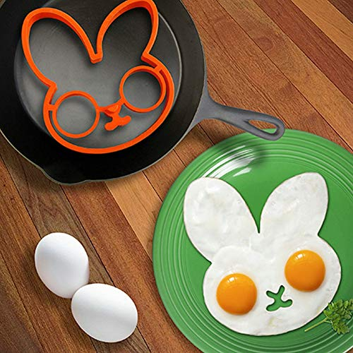 Cartoon Fried Fry Egg Frame Breakfast Mold Kitchen Tool Silicone Bunny Egg&Pancake Rings Kitchen Cooking Tool ()