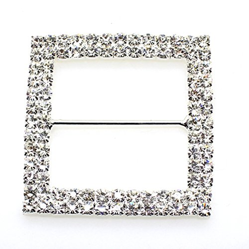 (5pcs 47mm x 47mm Silver Square Shaped Rhinestone Ribbon Buckle Slider for Wedding Invitation Letter)