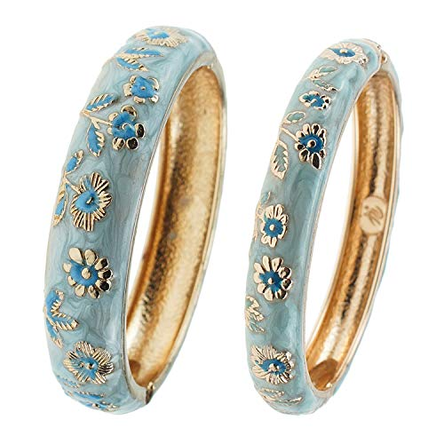 UJOY Cloisonne Bracelets Flower Enameled Cuff Hinged Bangles Gold Plated Sunflower Girls Women's Gifts Jewelry 55C36 Light Blue