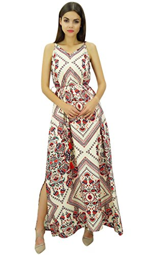 Maxi Riemchen Dori Frauen Beige Seitenschlitz Gürtel Bimba Kleid tragen mit Kleider Urlaub w5ExT