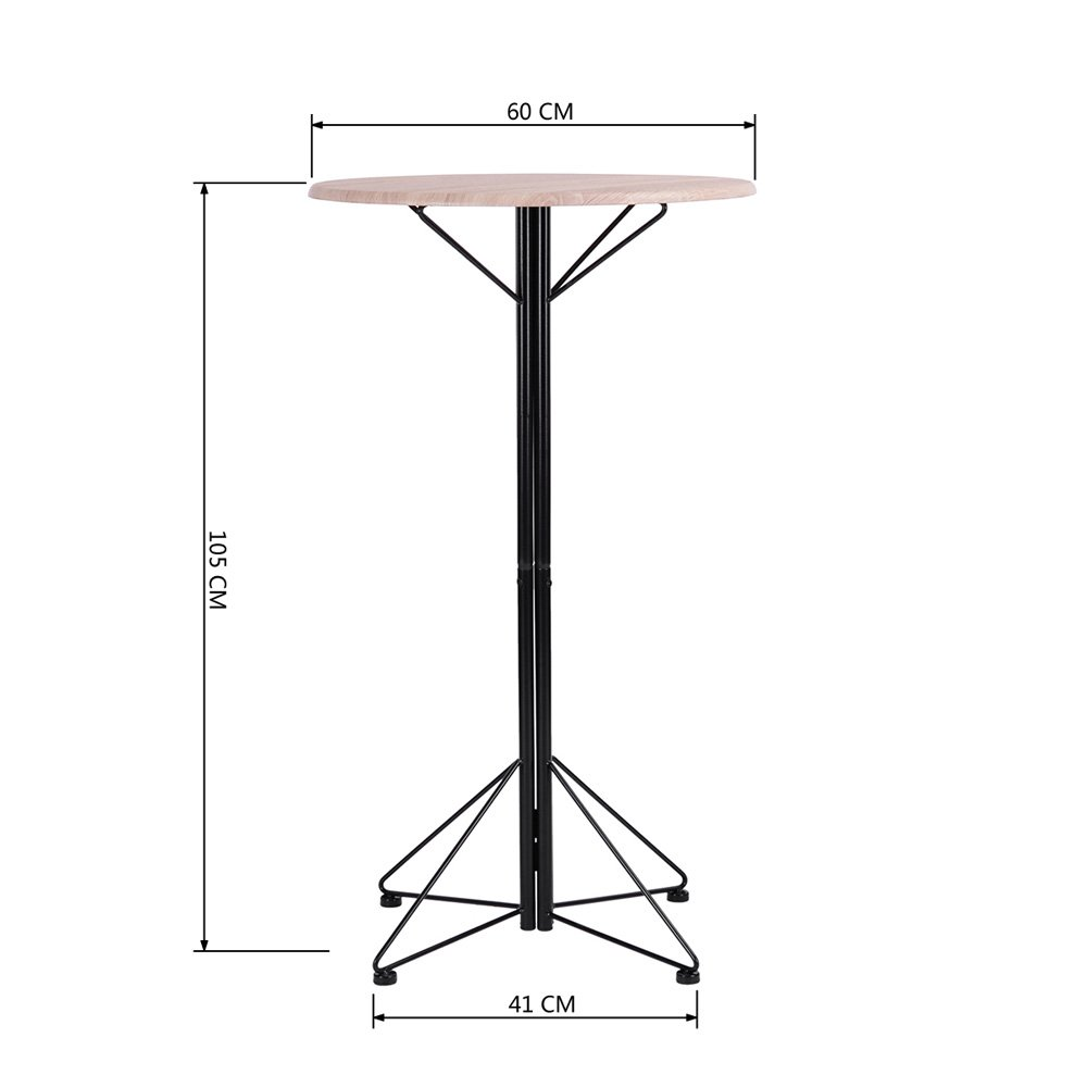FurnitureR Breakfast Table Set 3pcs Bar Set 2 High Bar Stools and 1 Round Table Panel Metal by FurnitureR (Image #2)
