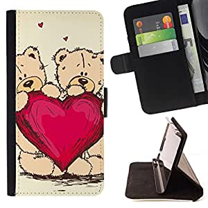 DEVIL CASE - FOR HTC Desire 820 - Cute Teddy Bear Heart Love - Style PU Leather Case Wallet Flip Stand Flap Closure Cover
