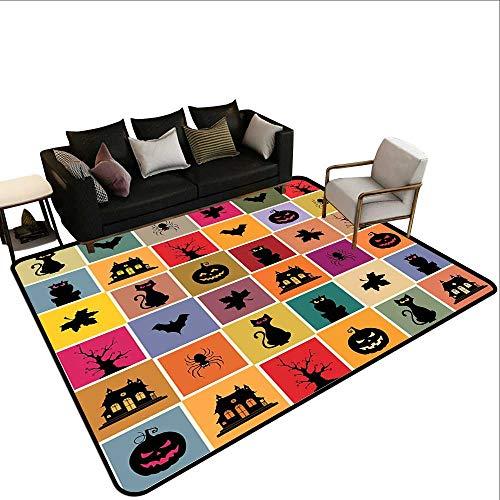Non-Slip Floor mat,Bats Cats Owls Haunted Houses in Squraes Halloween Themed Darwing Art 6'6
