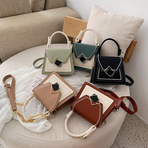 WHXYAA Womens Messenger Bag Fashion Joker Small Square Bag Creative Portable Trapezoidal Bag Color : Khaki
