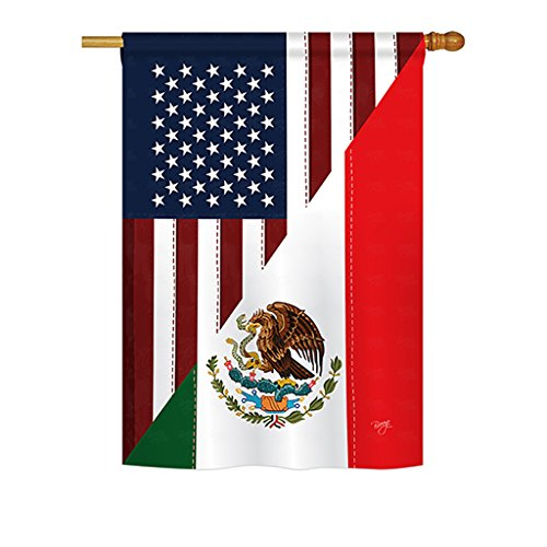 "Breeze Decor - US Mexico Friendship Flags of The World - Everyday Impressions Decorative Vertical House Flag 28"" x 40"" Printed in USA"