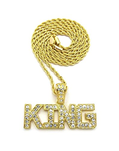 - Zilver Men Gold 18K Plated Iced Out King Pendant with Rope Chain Necklace