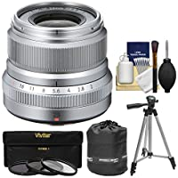 Fujifilm 23mm f/2.0 XF R WR Lens (Silver) with 3 UV/CPL/ND8 Filters + Tripod + Pouch + Kit