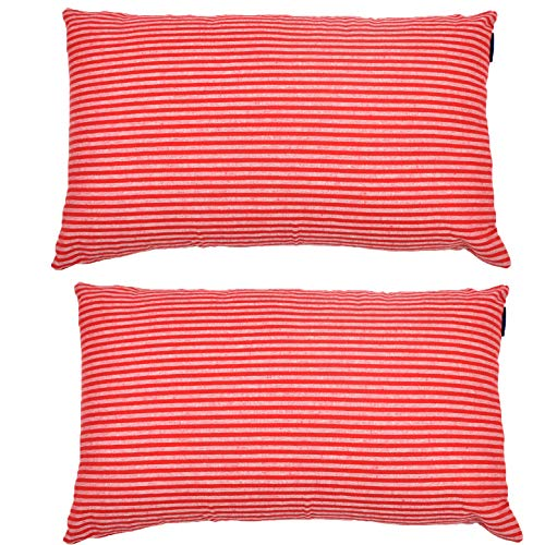 JES&MEDIS Set of 2 Pillowcase Cotton Striped Decorative Rectangular Throw Pillow Covers for Home Car Office Club Lumbar 12 x 20 Inches 50 x 30 cm Red and - Standard Sham Red