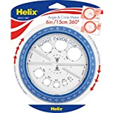 Helix 360 Degree Angle and Circle Maker with Integrated Circle Templates, 6 Inch / 15cm, Assorted Colors (36002)