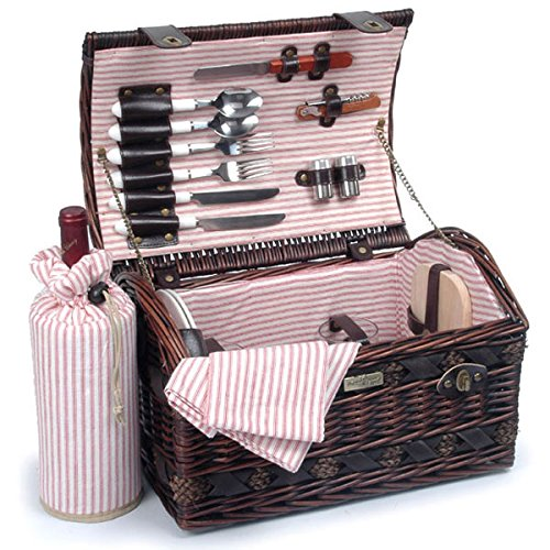 Picnic Beyond Wicker & Wood Picnic Basket for 2 PB1-3382A 20pcs Dar Brown Color Wine Bag Cheese Sets by Picnic & Beyond
