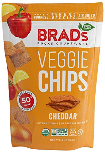 Brad's Plant Based Organic Veggie Chips, Cheddar, 3 Count