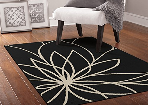 Black Rug Floral - Garland Rug Grand Floral Area Rug, 5 x 7, Black/Ivory
