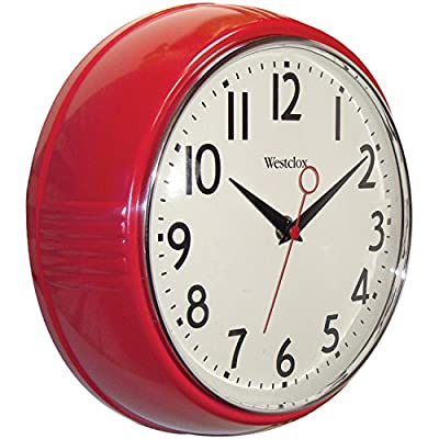 Westclox 32042R Retro 1950 Kitchen Wall Clock, 9.5-Inch, Red - Wall Clock for the Kitchen 1950s Era Design 9.5 Inch in Diameter - wall-clocks, living-room-decor, living-room - 51ipN4WHRAL. SS400  -