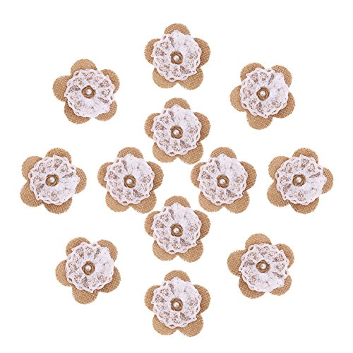 (DECORA 12 Pieces Handmade Burlap Lace Rose Flowers With Pearl for Wedding Decoration and Craft)