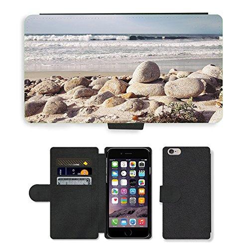 "PU Leather Cover Custodia per // M00421714 Shore Rocks Pebbles pierres rondes // Apple iPhone 6 4.7"""