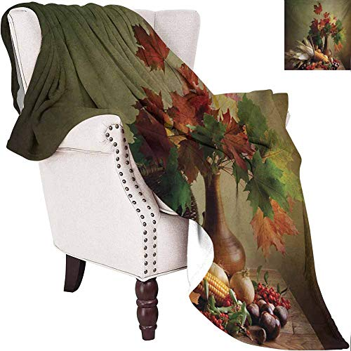MKOK Harvest Luxury Special Grade Blanket Photograph from Death of The Nature Season Fall Vegetables and Leafs Wooden Table Multi-Purpose use for Sofas etc. W60 x L70 Inch Multicolor