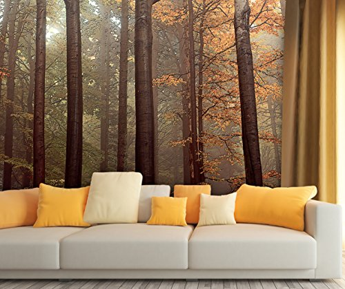 Large Wall Mural Oil Painting Style Landscape with Tall Trees in Forest Vinyl Wallpaper Removable Wall Decor