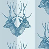 Mitchell Black Stag Wallpaper in Blue Steel