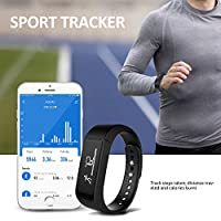 Activity Tracker, Toprime Fitness Tracker Waterproof Bracelet OLED Touch Screen Smart Watch Band with Sleep Monitor, Pedometer Wristband for Andriod and iOS (Black) by Toprime