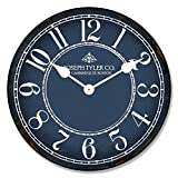Blue & White Wall Clock, Available in 8 sizes, Most Sizes Ship the Next Business Day, Whisper Quiet. For Sale