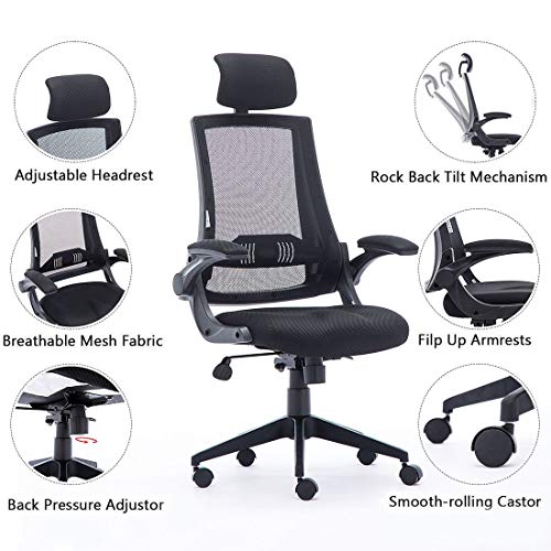 High Back Mesh Office Chair - Ergonomic Design of Computer Desk Chair with Lumbar and Neck Support Color Black Photo #7